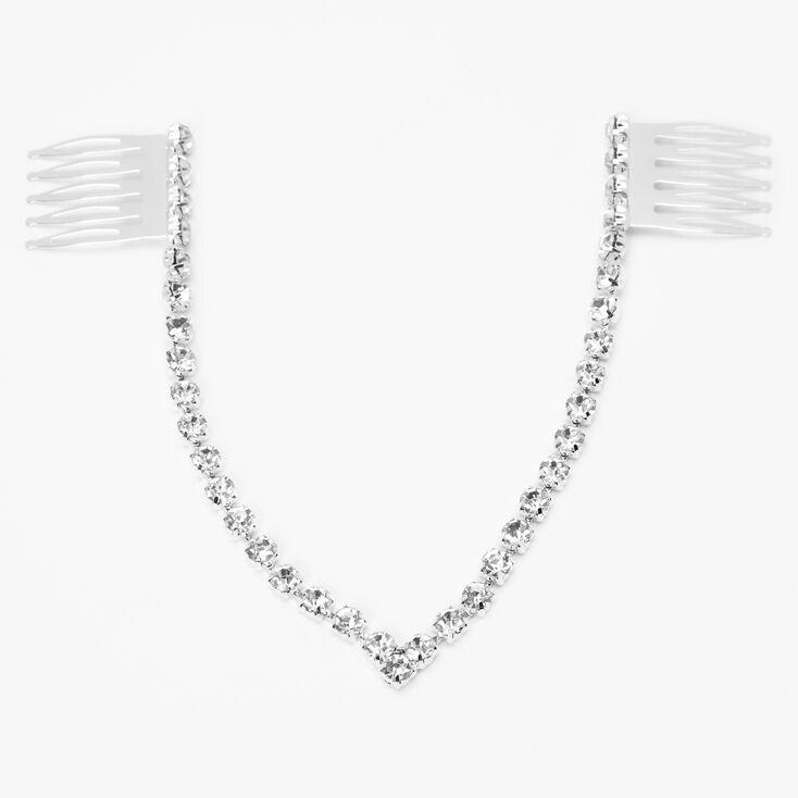 Silver Glass Rhinestone Hair Swag,