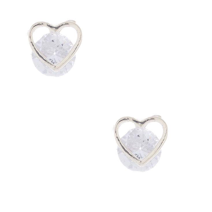 Cubic Zirconia 8MM Heart Stud Earrings,