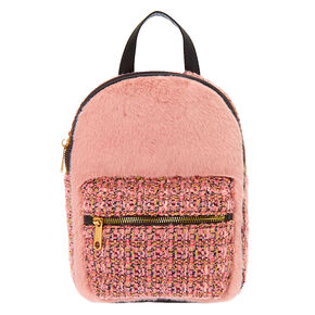 Furry Tweed Midi Backpack - Pink,