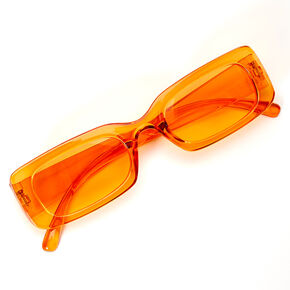 Slim Rectangle Transparent Sunglasses - Orange,