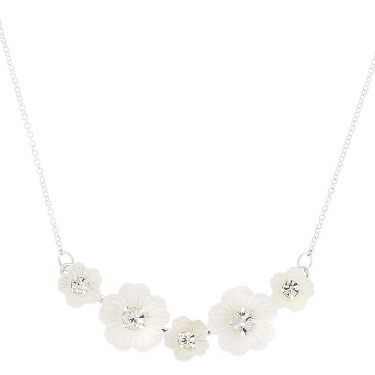 Flower Bib Pendant Necklace - White,
