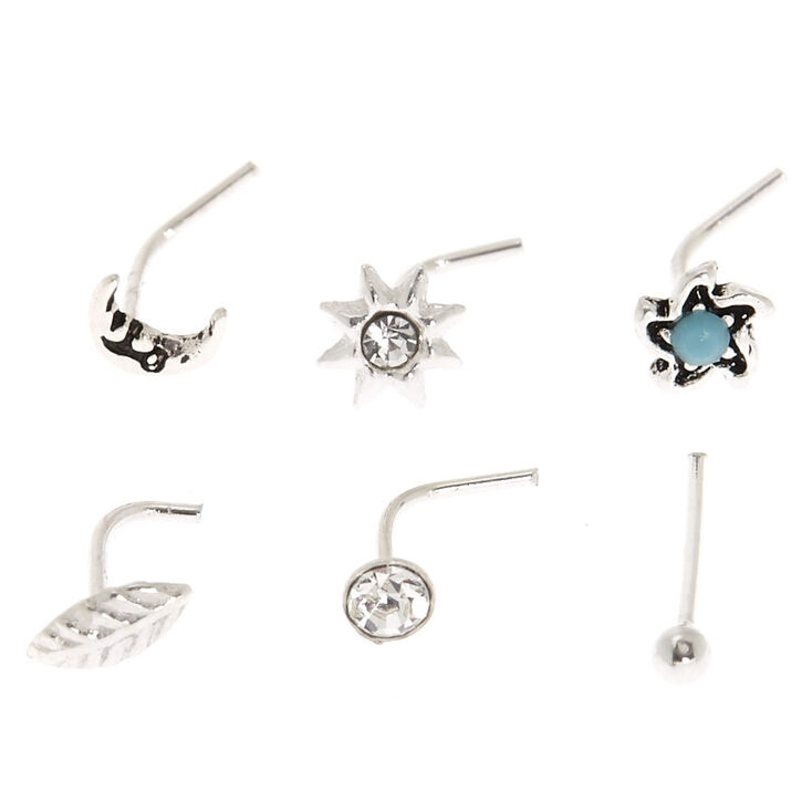 Sterling Silver 22G Celestial Nose Studs - 6 Pack,