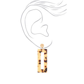 "Gold 2.5"" Rectangle Tortoiseshell Drop Earrings - Brown,"