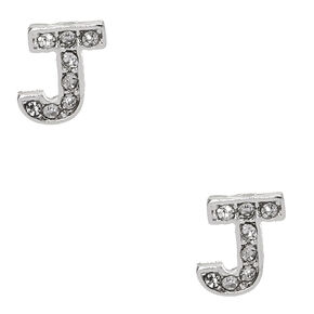 "Silver Tone Faux Crystal Initial ""J"" Stud Earrings,"