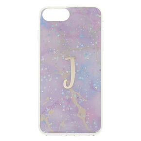 Lilac Marble Glitter J Initial Phone Case - Fits iPhone 6/7/8 Plus,