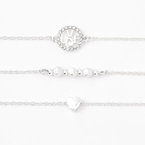 Silver Hearts & Love Chain Bracelets - 3 Pack,