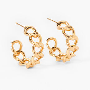 18kt Gold Plated Refined Curb Chain Hoop Earrings,