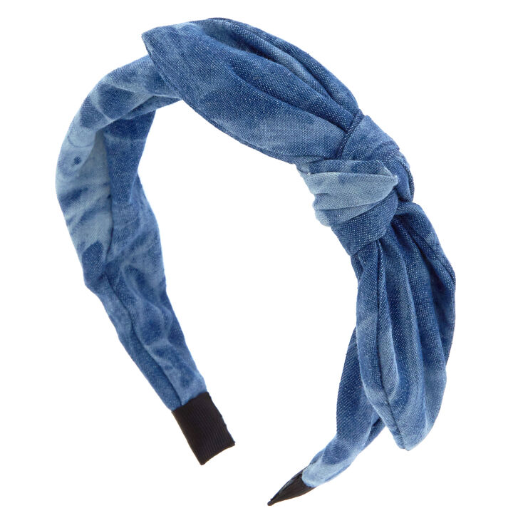 Acid Wash Denim Knotted Headband,