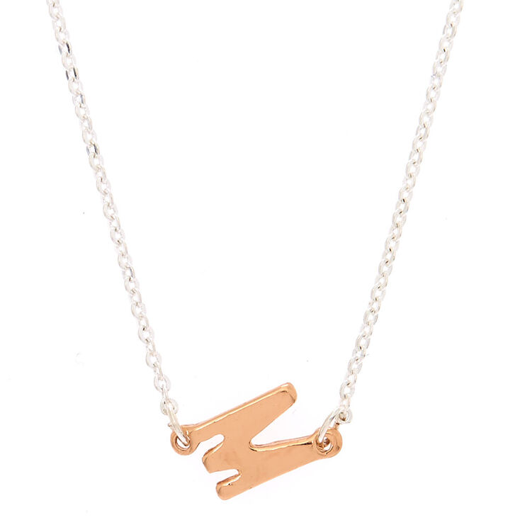 Mixed Metal Sideways Initial Pendant Necklace - M,