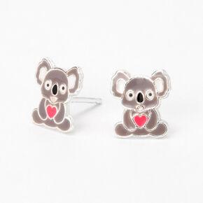 Sterling Silver Koala Heart Stud Earrings,