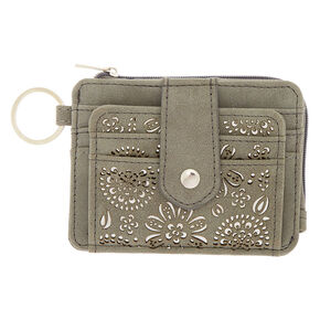 Filigree Cut Perforated Coin Purse - Gray,