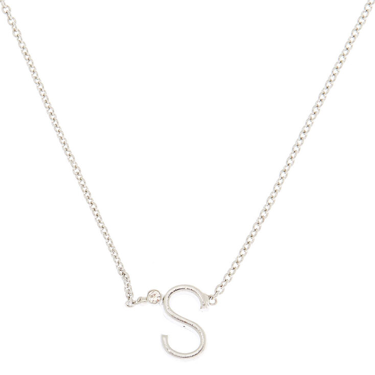 Silver Stone Initial Pendant Necklace - S,