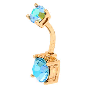 Gold 14G Aqua Zircon Belly Ring,