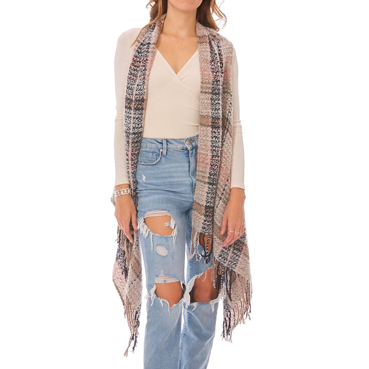 Blush & Gray Plaid Blanket Vest,