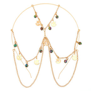 Gold Beaded Star Back to Front Chain Headband,