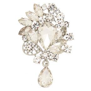 Silver Glass Rhinestone Ornate Brooch,