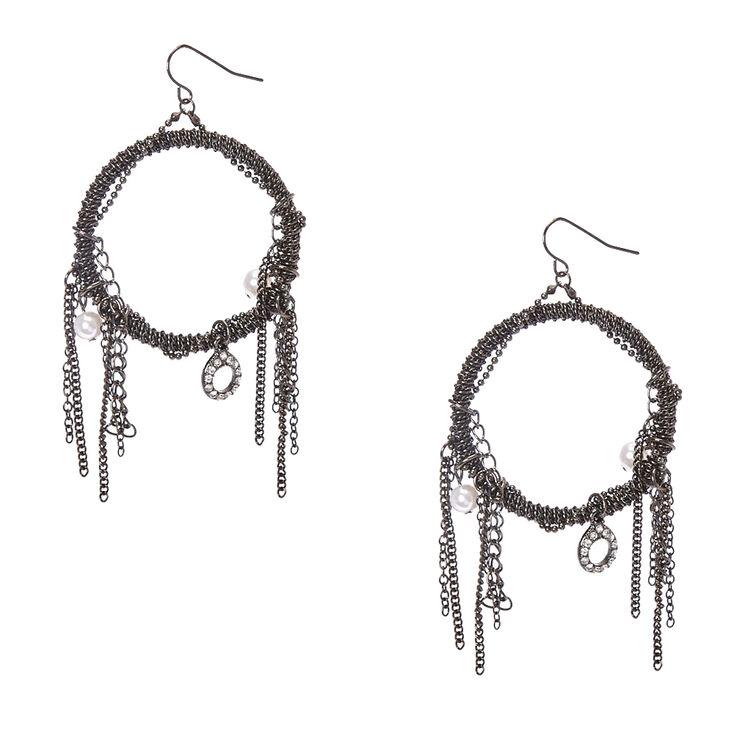 Gothic Hoop Drop Earrings,