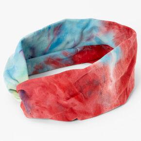 Navy & Red Tie Dye Twisted Headwrap,