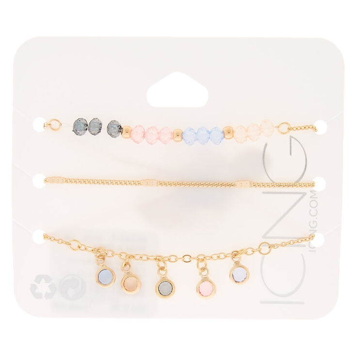 Pastel Shine Chain Bracelets - 3 Pack,