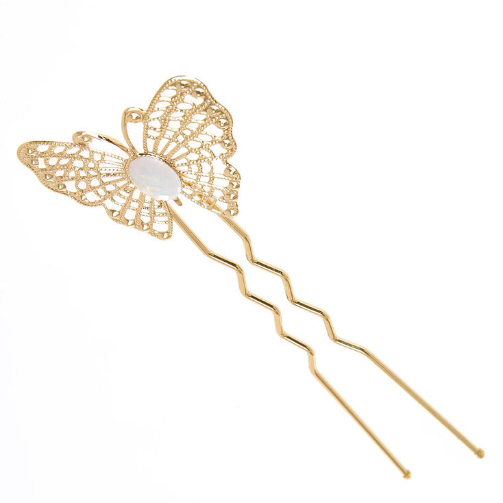 Gold Tone Filigree Butterfly &  Iridescent Stone Bun Tool,