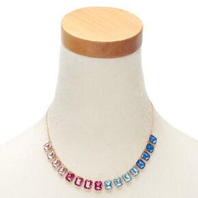 Bright Rainbow Stain Glass Statement Necklace,