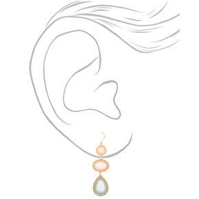 """Gold 2"""" Pastel Stone Drop Earrings,"""