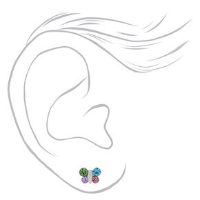 Sterling Silver Rainbow Pastel Butterfly Stud Earrings,