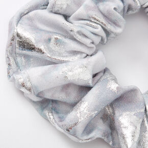 Metallic Cloud Marble Hair Scrunchie - Silver,