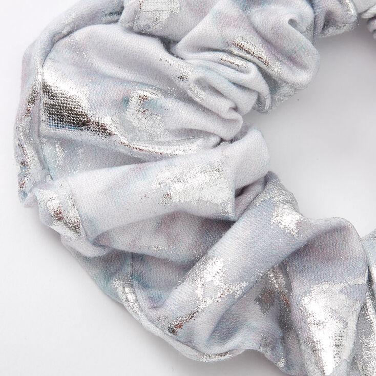Medium Metallic Marble Hair Scrunchie - Silver,