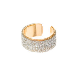 Gold Tone Silver Glitter Ear Cuff,