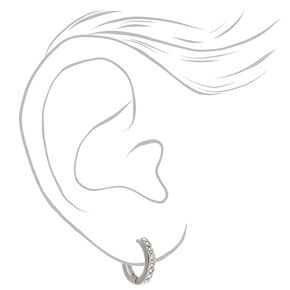 Silver 10MM Embellished Huggie Hoop Earrings,