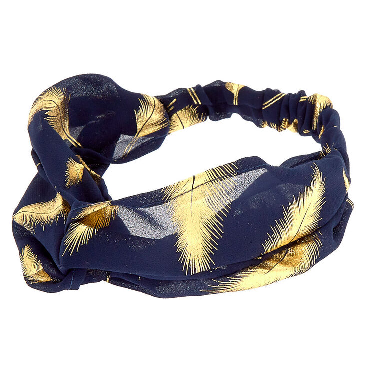 Gold Metallic Leaf Headwrap - Navy,