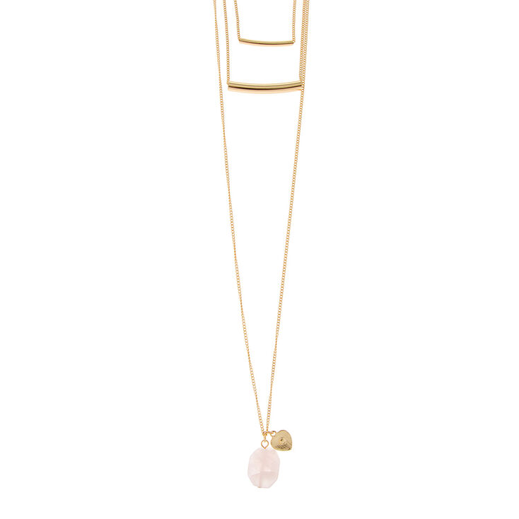 Gold Tube Bars Layered Necklace with Genuine Pink Quartz & Gold Heart Pendant,
