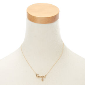 Gold Zodiac Pendant Necklace - Gemini,