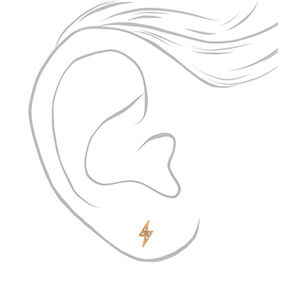 18kt Gold Plated Rhinestone Lightning Bolt Stud Earrings,