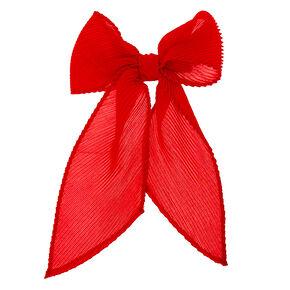 Pleated Chiffon Hair Bow Clip - Red,