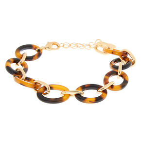 Gold Tortoiseshell Chain Statement Bracelet - Brown,