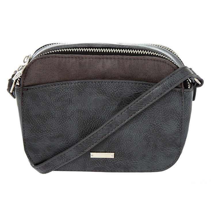 Faux Leather Camera Crossbody Bag - Gray,