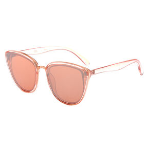 Mirrored Mod Cat Eye Sunglasses - Rose Gold,