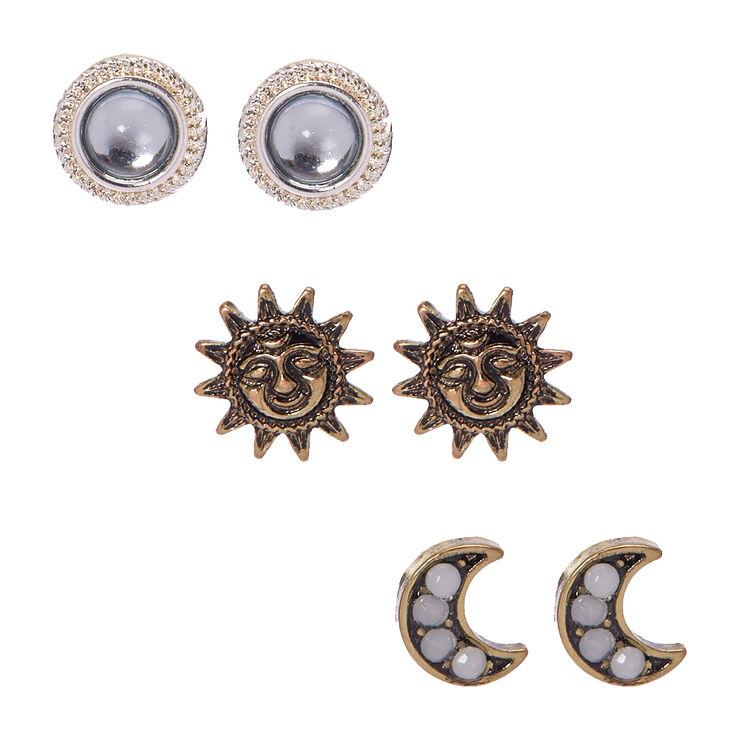 Gold & Silver Tone Celestial Stud Earrings,