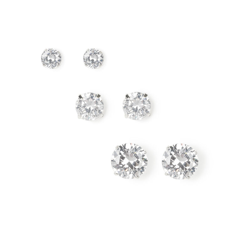 Silver Cubic Zirconia Round Stud Earrings - 5MM, 7MM, 9MM,