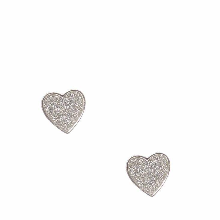 Silver Tone Glitter Heart Stud Earrings,