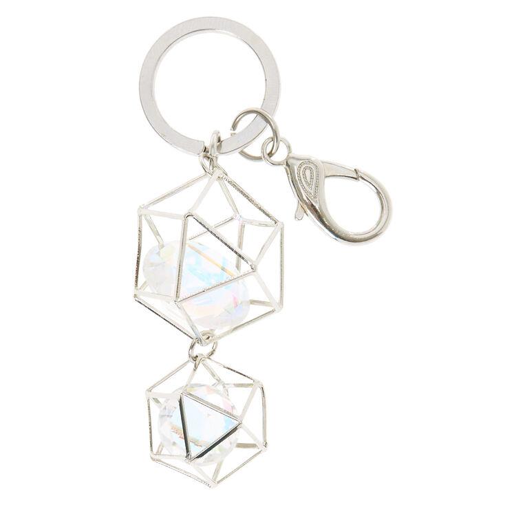 Silver Geometric Crystal Keychain,