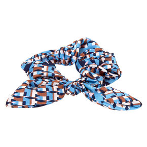 Small Geometric Knotted Bow Hair Scrunchie - Blue,