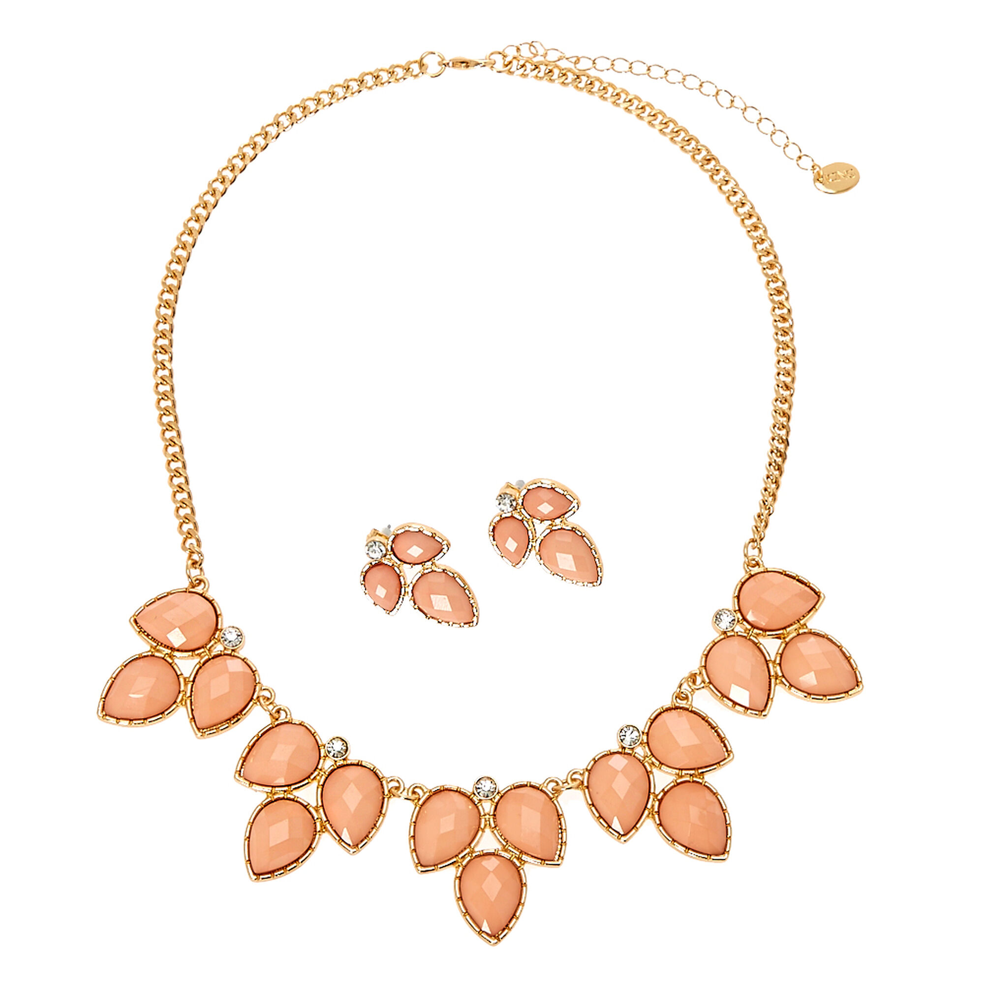 and statement jewelry necklace gold blush gem chunky tone pink ecuatwitt