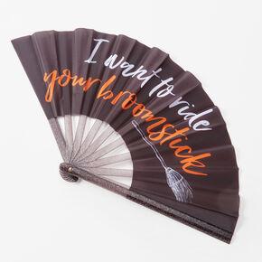 Halloween Broomstick Folding Fan - Black,