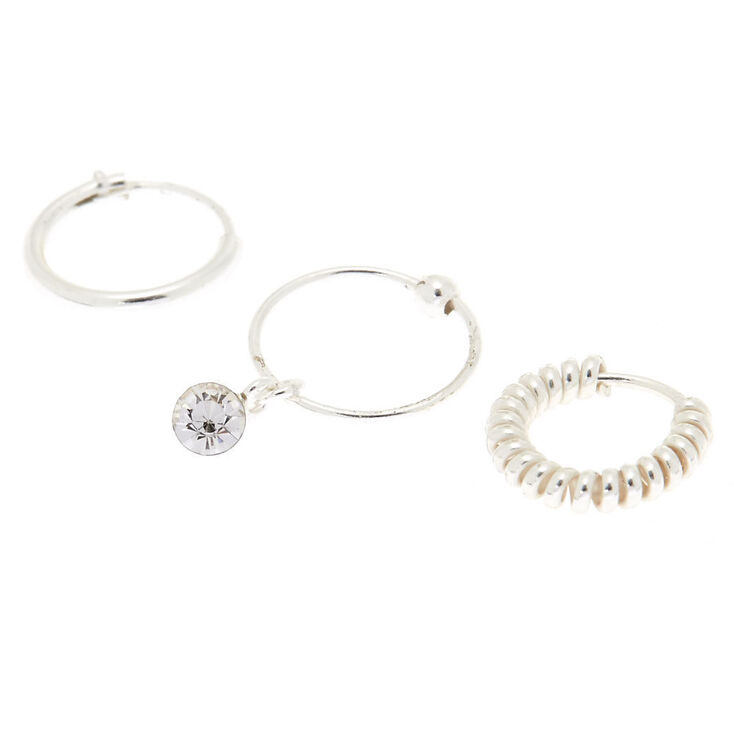 Silver Cartilage Hoop Earrings - 3 Pack,