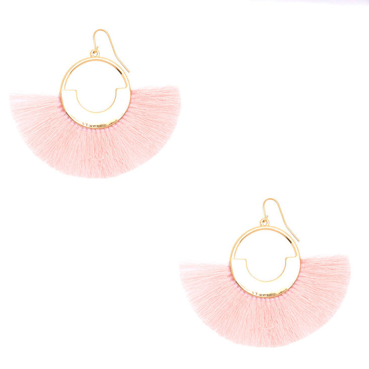 "2"" Geometric Fan Tassel Drop Earrings - Pink,"