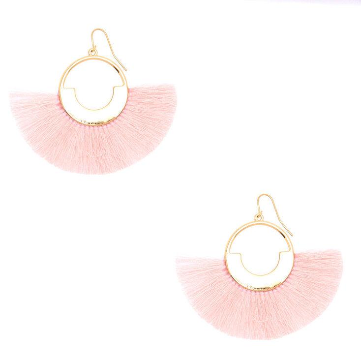 """2"""" Geometric Fan Tassel Drop Earrings - Pink,"""