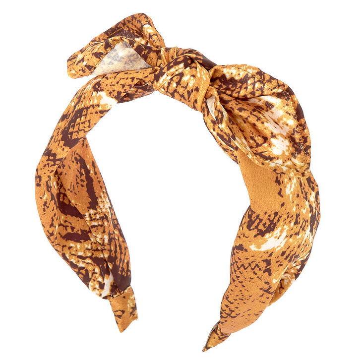 70s Headbands, Wigs, Hair Accessories Icing Snakeskin Knotted Bow Headband - Yellow $7.99 AT vintagedancer.com